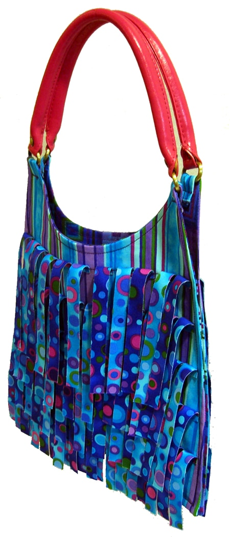 Hippie bag - Blank Quilting, Tribeca, Turquoise colorway side view