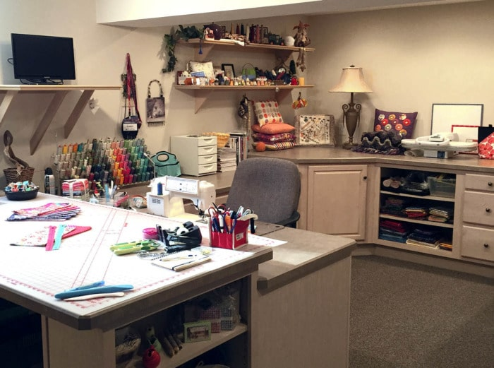 Sewing room in a finished basement.