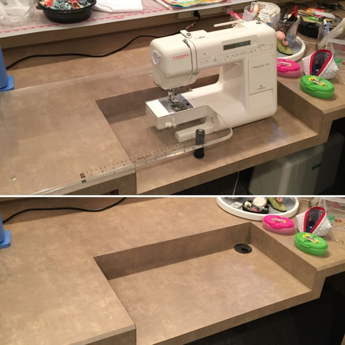 A close-up view of a custom countertop with a small portion that dips down to accommodate a sewing machine