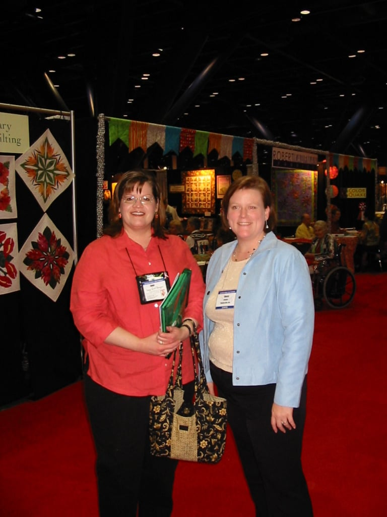 Joan and Cheryl Johnson at Quilt Market, Houston, October 2006