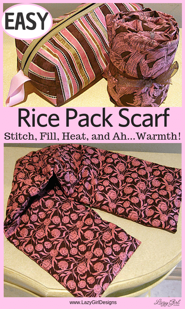 Scarf length rice pack and zippered case for storage