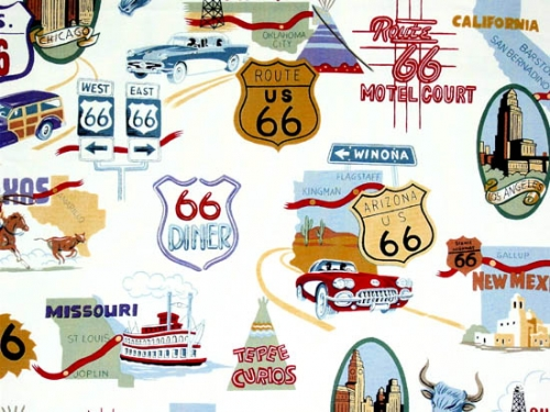 Route 66 novelty fabric.