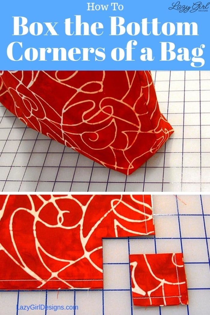 How to box the bottom corners of a bag.