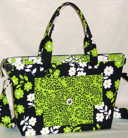 Patterns For Bags : Lazy Girl Designs City Bag #112 shown in Kiwi from Timeless Treasures.