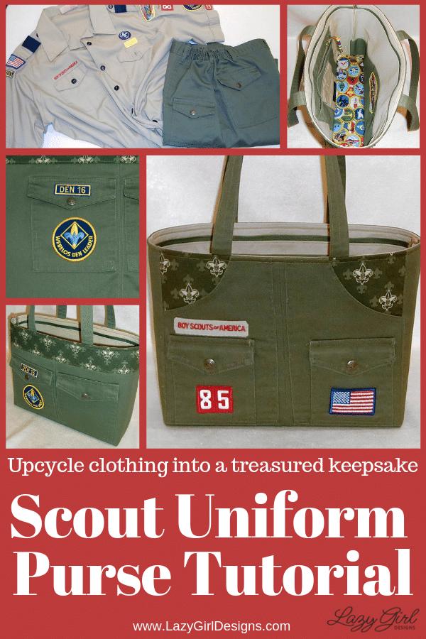 Keepsake purse made from a den mothers boy scout uniform