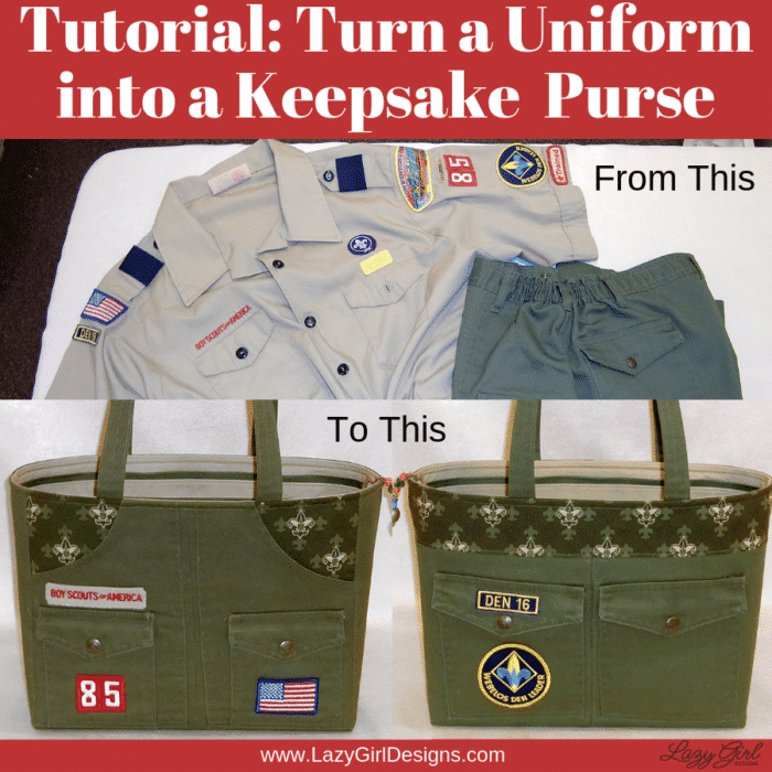 Make a purse from a scout uniform.