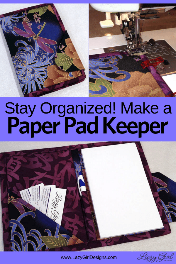 Fabric keeper to hold a pad of paper or electronic tablet like an iPad