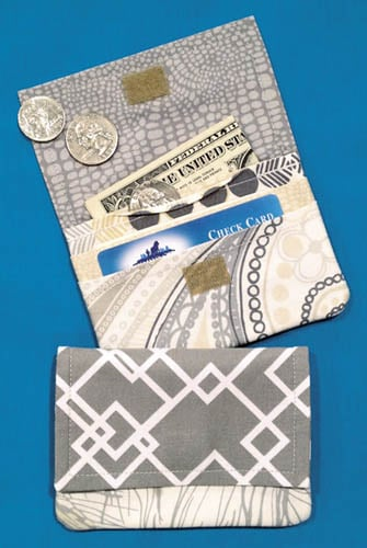 Small fabric wallet sewing pattern.
