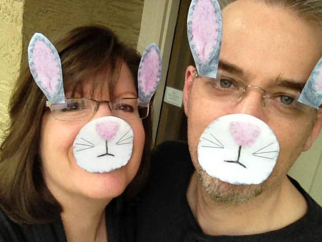 Easter costume with printed bunny ears and nose on faces