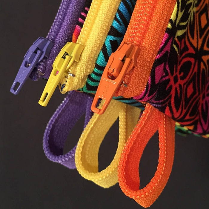 Close up of zipper pulls.