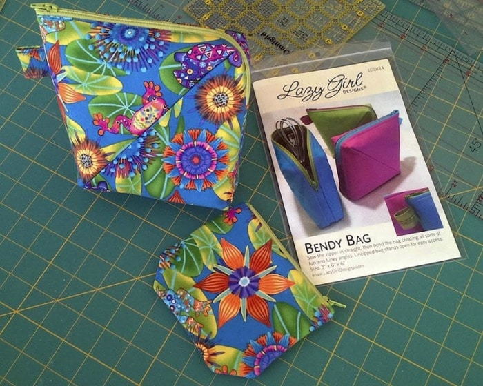 Two zipper pouches and a Bendy Bag pattern.