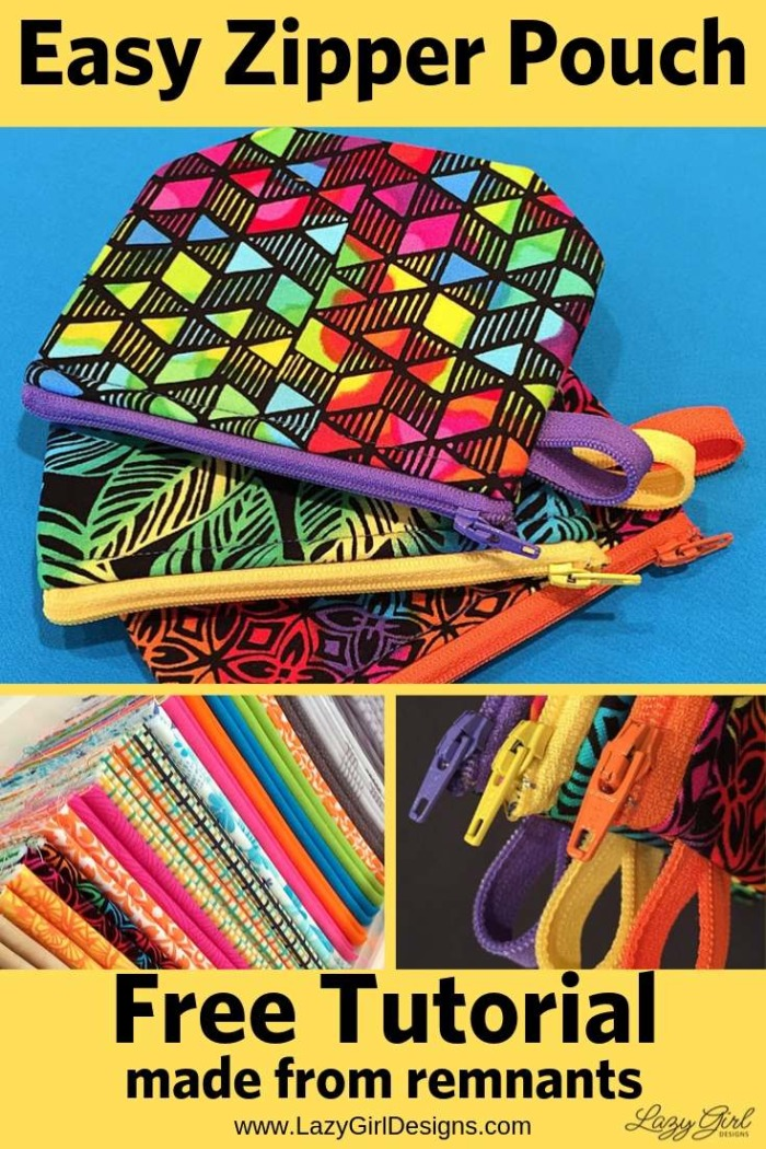 small zipper pouches with colorful zippers