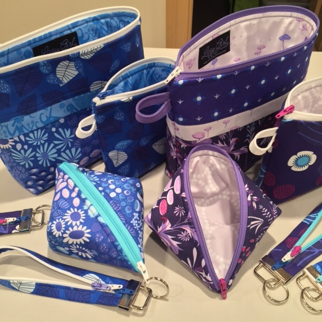 Small zippered pouches and key foba! Sweetpea Pods, Becca Bags, and Fobio key fobs patterns by #LazyGirlDesigns