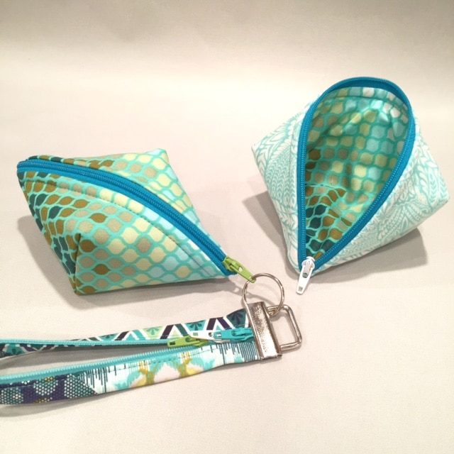 Wristlet of Sweetpea Pods and Fobio key fob, in TulaPink fabrics. #LazyGirlDesigns #TulaPink