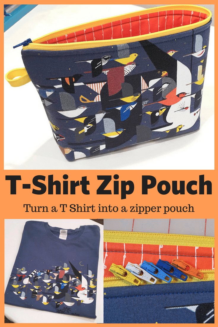 recycled t-shirt as a zipper pouch
