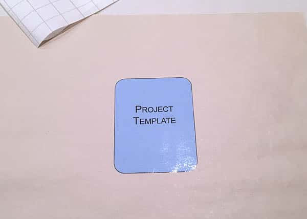 laminated paper template trimmed to size