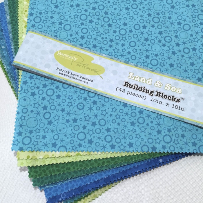 Blue and green fabrics in 10