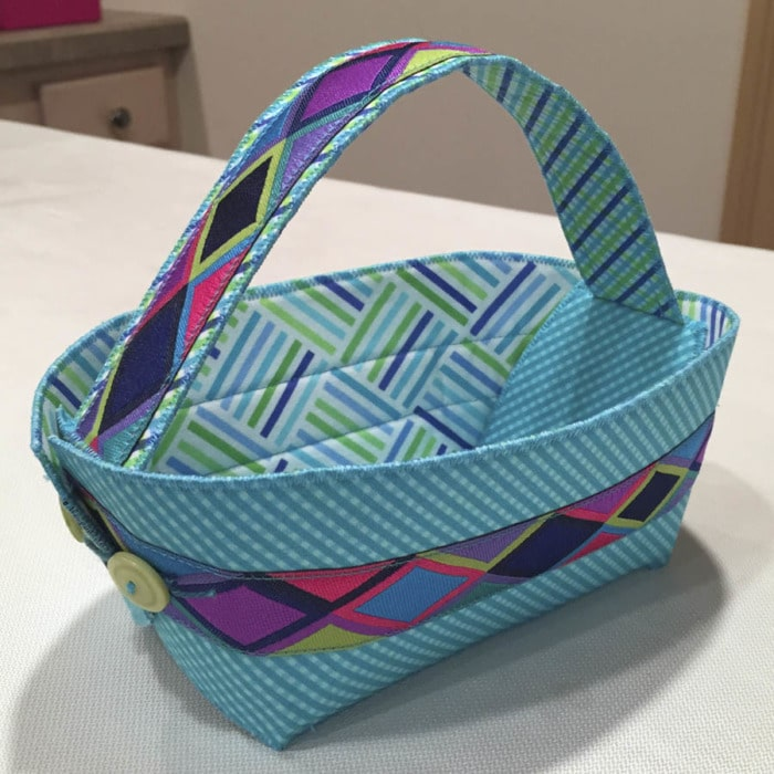 Picture showing where the stitching shows on the lining of the Button Boats Easter Basket.