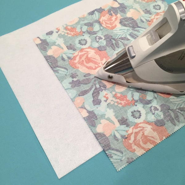 Press interfacing with a press cloth and iron. Stiff Stuff firm sew-in interfacing to add structure to purse, bag, and tote projects