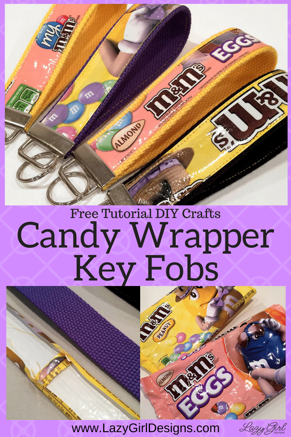 Key fobs made from pretty candy wrappers.