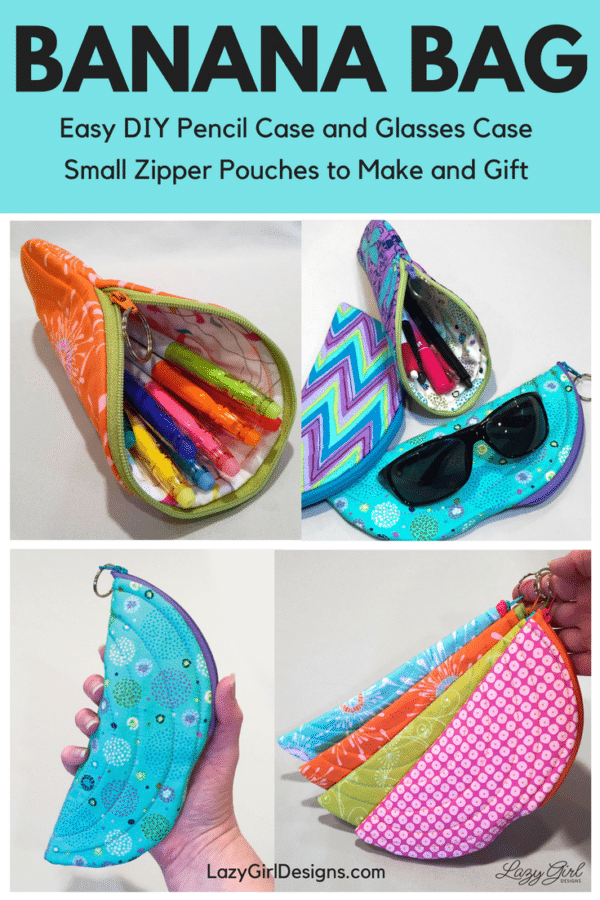 banana bag small zipper pouch sewing pattern from Lazy Girl Designs LGD
