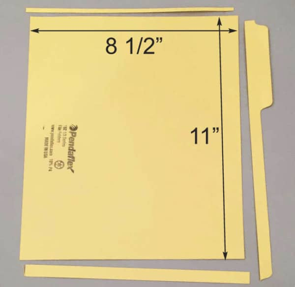 Trim file folder to letter sized sheet.