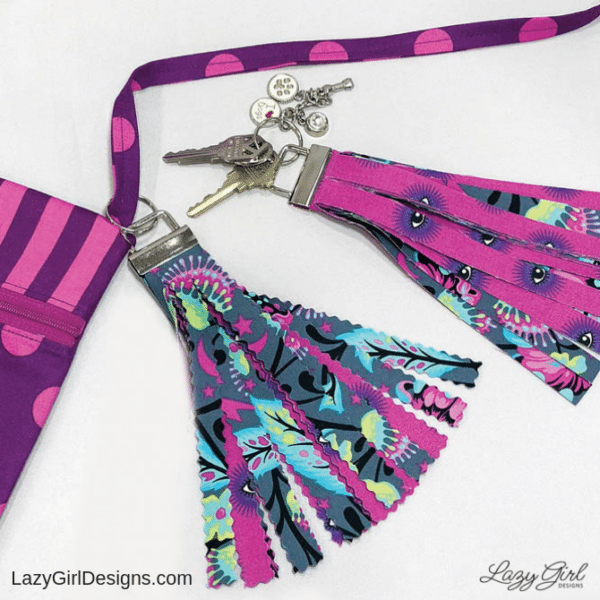 sewing pattern for a no sew fabric tassel key fob