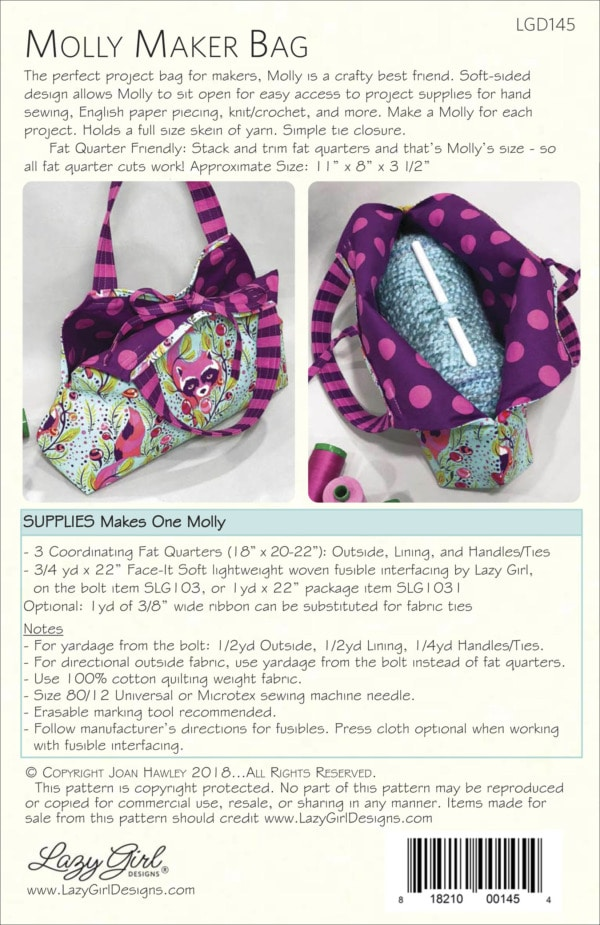 Molly Maker Bag DIY sewing pattern back cover