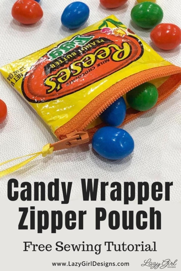 Candy wrapper zipper pouch with small colorful candy.