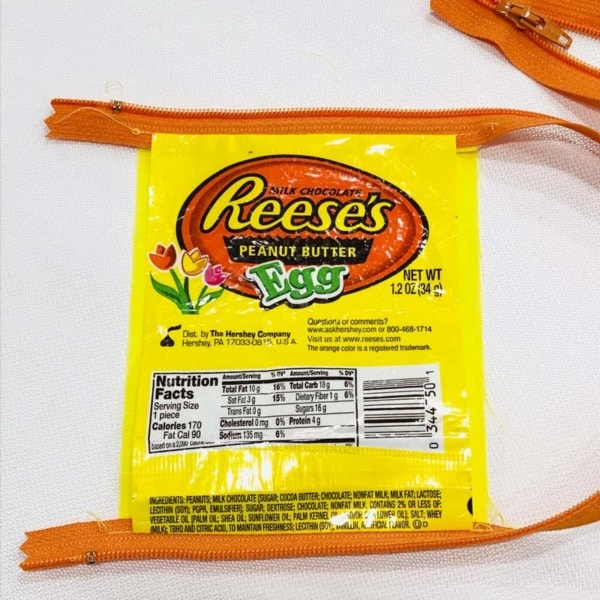 Close up of zipper sewn into candy wrapper.