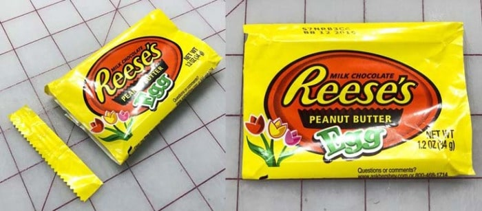 Candy wrappers with the sealed edges cut off.