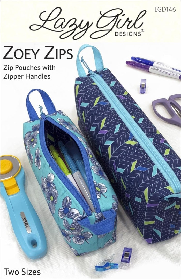 Pattern cover for Zoey Zips small zipper pouches.