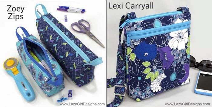 Small zippered pouches and a cross body bag