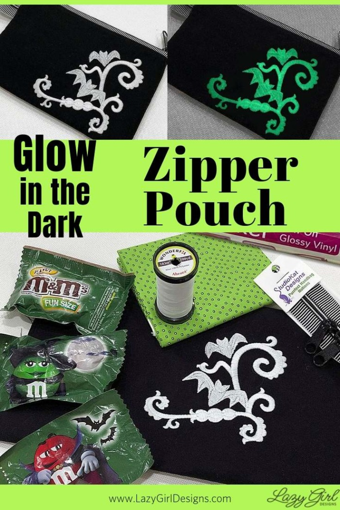 Supplies to make a glow in the dark zipper pouch.