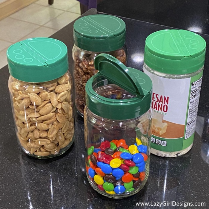 Glass jars filled with snacks